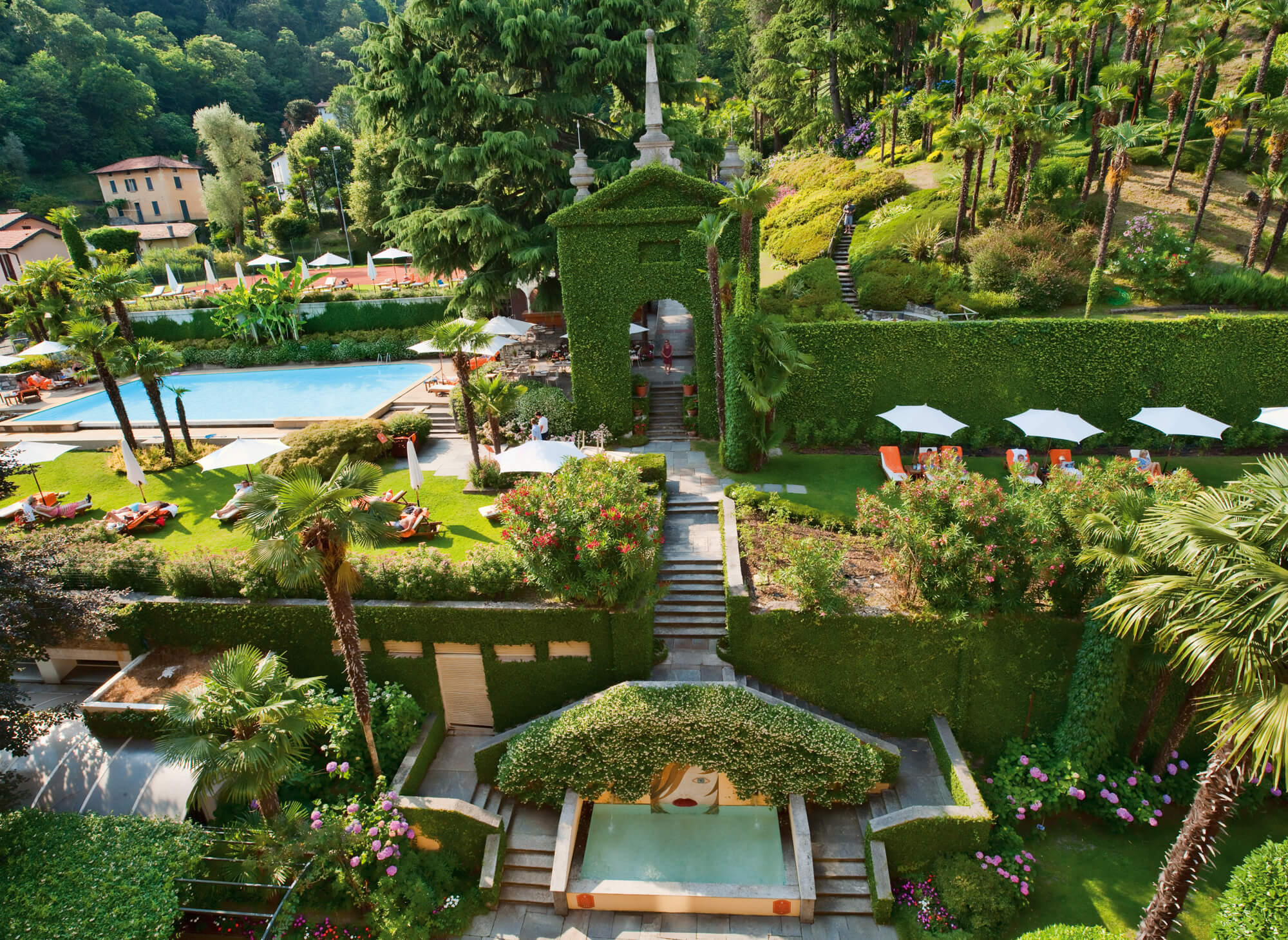 The manicured gardens of the hotel